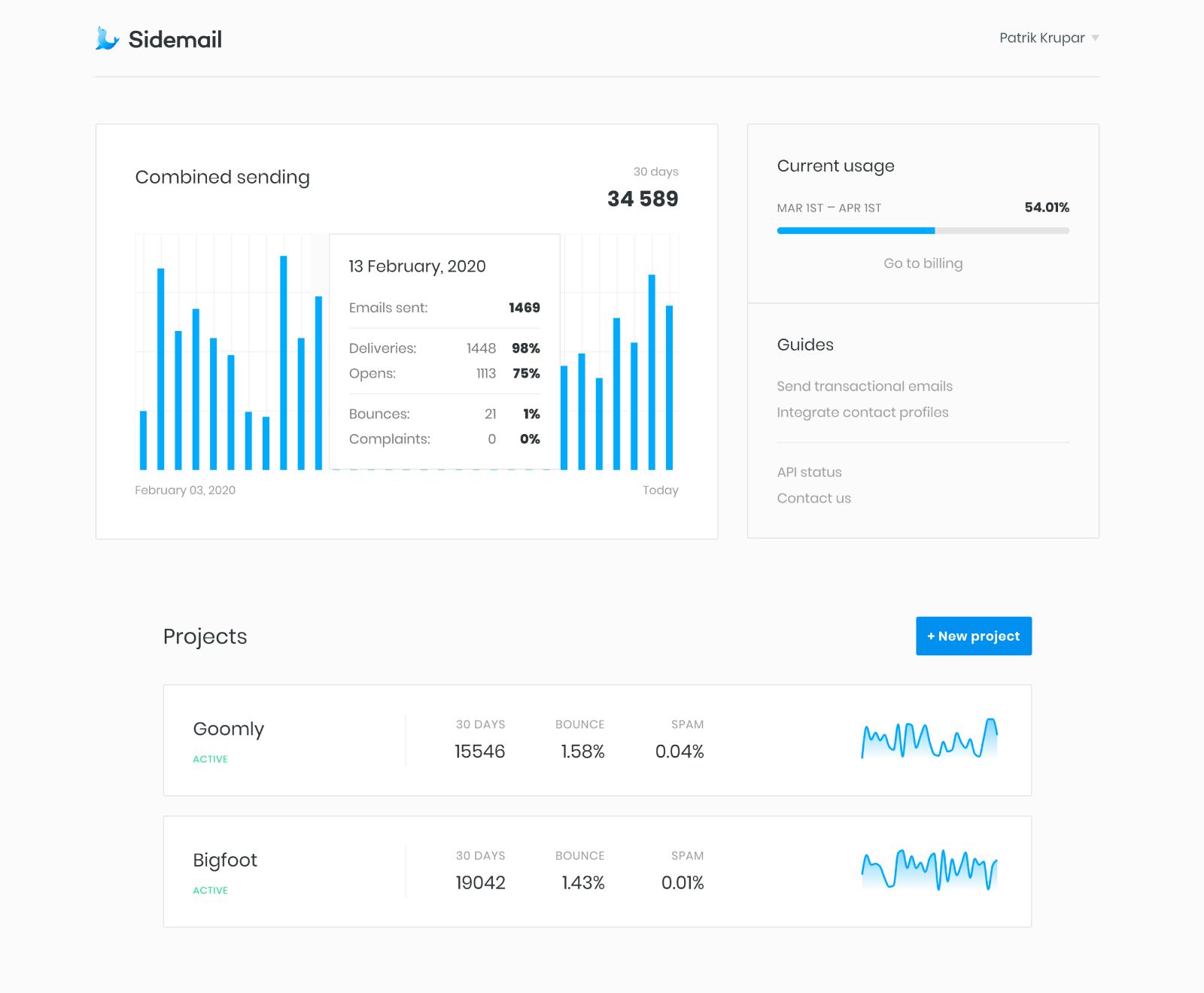 Sidemail dashboard