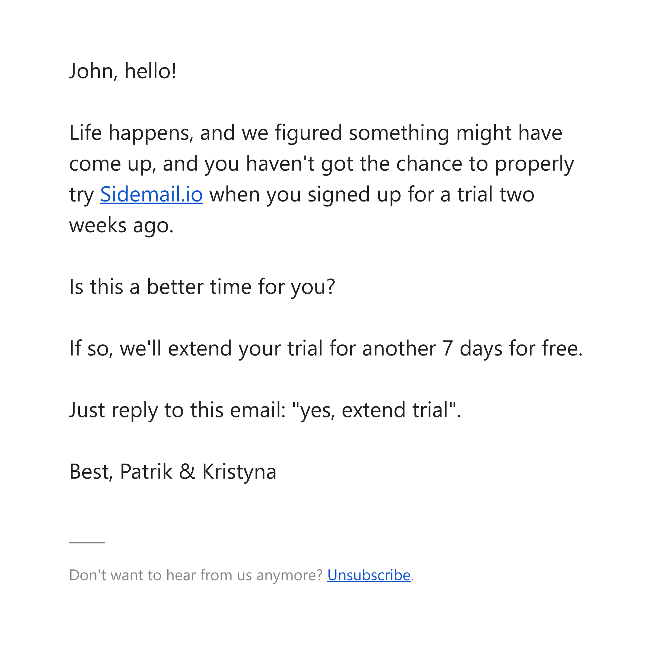 An example of text-based email